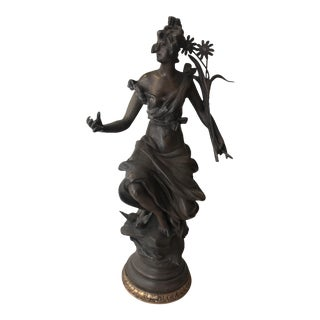 French Antique Spelter Maiden Sculpture Signed by Artist For Sale