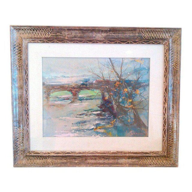 """Wood 1970s """"Winter Scene of Bridge"""" Acrylic Painting on Board, Artist Signed For Sale - Image 7 of 7"""