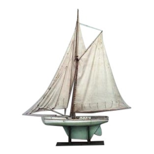 American large wood model of sail boat with green base and green & white hull For Sale
