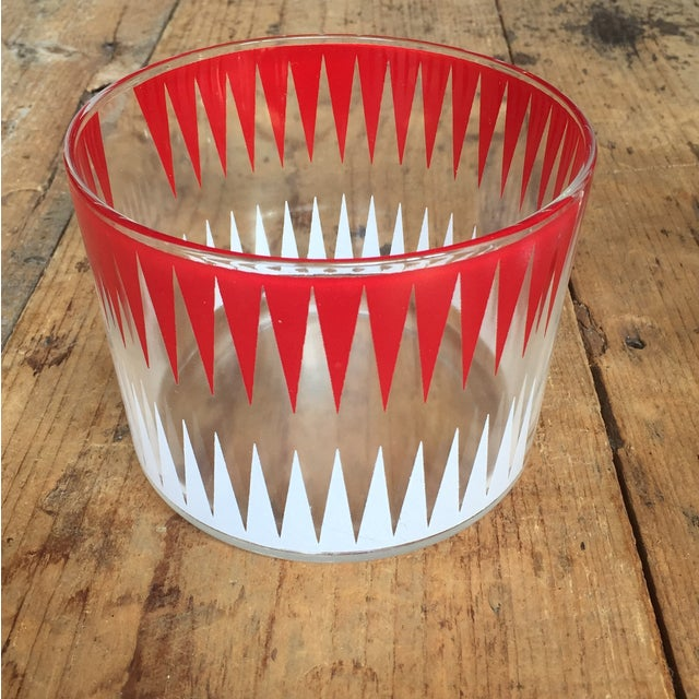 Vintage Red and White Ice Bucket With 8 Glasses - Image 4 of 6