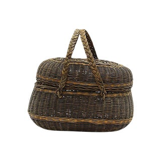 Antique French Wicker Market Basket For Sale