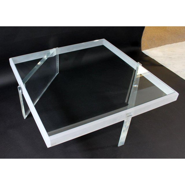 Contemporary Mid-Century Modern Large Lucite Glass Coffee Table For Sale - Image 3 of 9