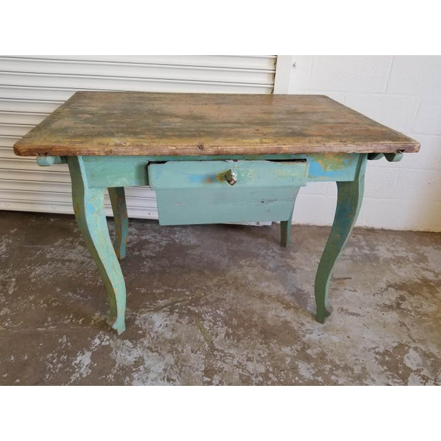 French Antique French Baker's Console Table With Drawer For Sale - Image 3 of 3