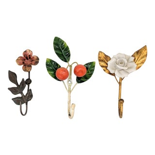 20th Century Italian Tole/Gilt Floral & Fruit Wall Hooks - Set of 3 For Sale