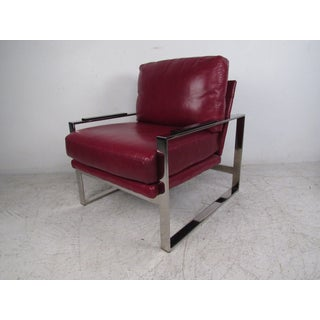 Mid-Century Modern Chrome and Leather Chair With Ottoman Preview
