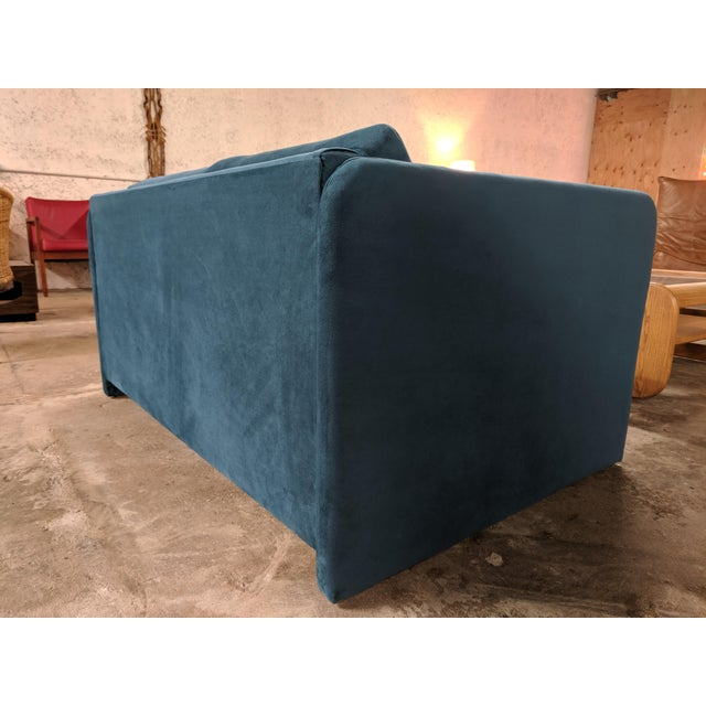 Mid-Century Modern Vintage 1980's Reupholstered Love Seat in Crushed Turquoise Velvet With Rounded Arms For Sale - Image 3 of 9