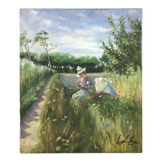 """Vintage Impressionism """"Woman Sitting on Country Roadside"""" Painting For Sale"""