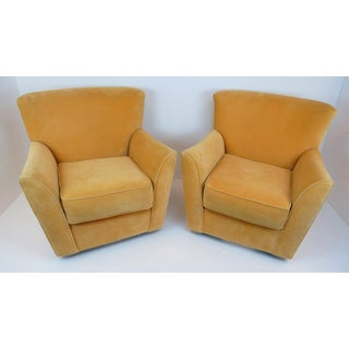 Vintage Mid Century Precedent Vladimir Kagan Style Yellow Ultra-Suede Wing Back Swivel Chairs- a Pair Preview