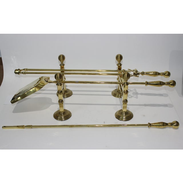 """19C Fireplace Accesories - Trio of Fireplace tools on pair of tool stands (racks) The tools are all approximately 26.5""""..."""