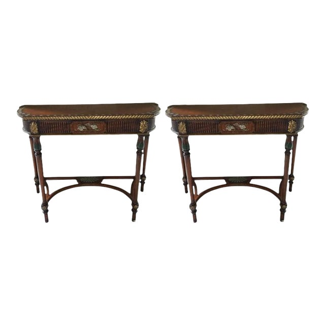 Demilune Tables with Hand Painted Flowers, 20th Century - A Pair For Sale