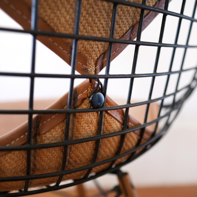 Eames Dkw-2 Dowel Wire Chair With Leather Bikini Cover For Sale - Image 9 of 13