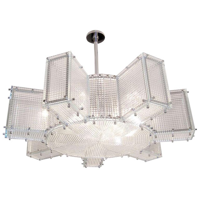 Hypoid Glass and Polished Nickel Chandelier For Sale