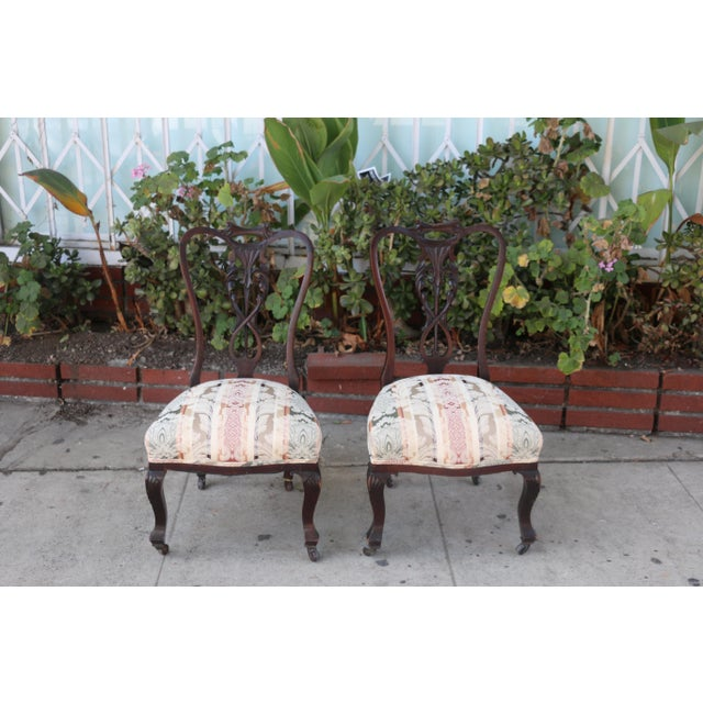 Vintage used pair of low Italian Chairs in okay condition. Need to be reupholstered. Wood base is well kept with nice...