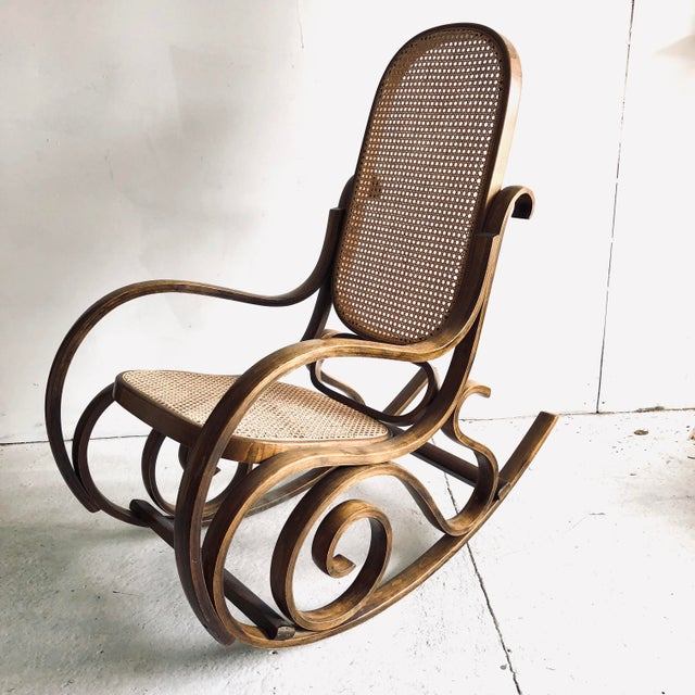 Sienna Bentwood and Caned Rocking Chair Thonet Style For Sale - Image 8 of 8