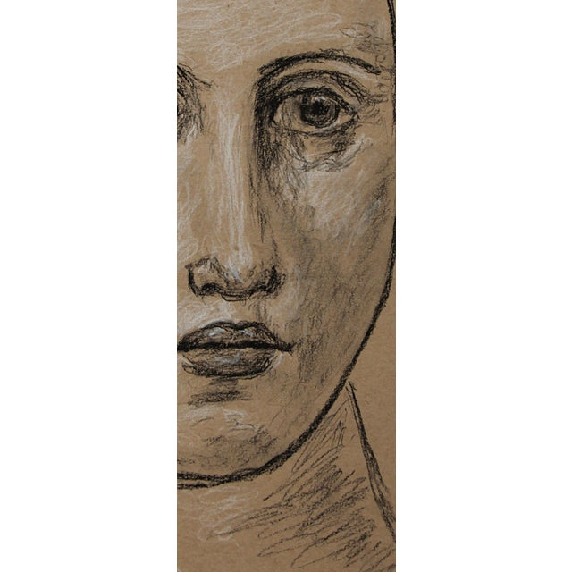 """Sarah Myers Contemporary """"Head of a Woman"""" Charcoal Drawing For Sale In Kansas City - Image 6 of 8"""
