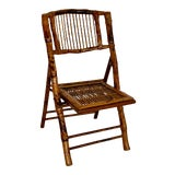 Image of Vintage Tortoiseshell Bamboo Folding Chair For Sale