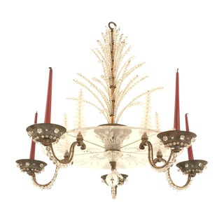 French 1940s Oxidize Bronze Chandelier For Sale