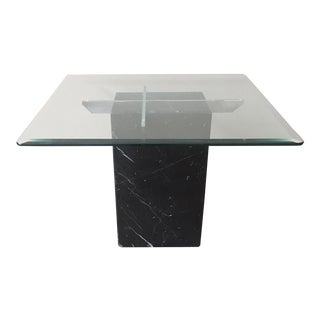Vintage Black Marble Pedestal Side Table With Chrome Supports and Glass Top For Sale