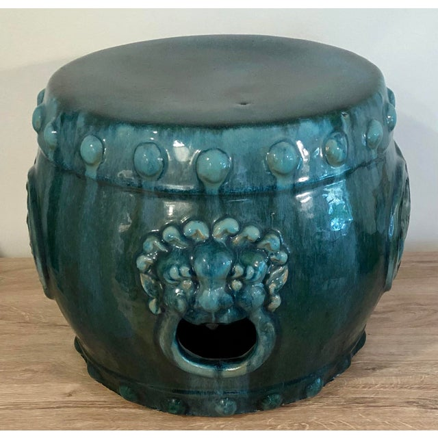 Late 20th Century Chinese Dark Turquoise Ceramic Drum Garden Stool For Sale - Image 4 of 8