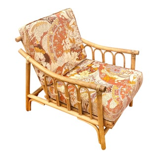 1960s Retro Psychedelic Print Natural Bamboo Rattan Armchair For Sale