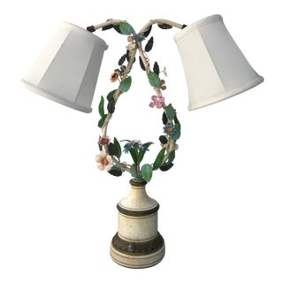 Floral Tole Lamp For Sale
