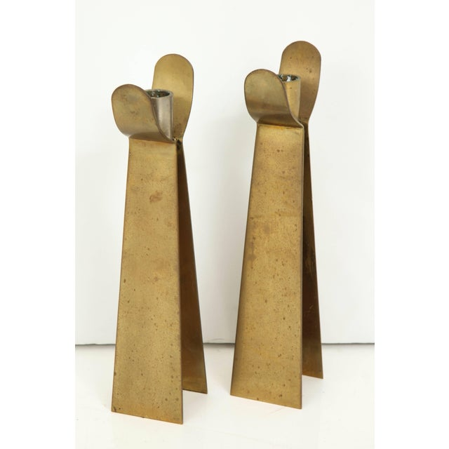 Pair of Danish Brass Candleholders For Sale - Image 4 of 6