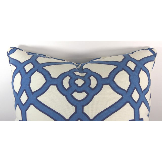 Blue & White Cotton Latice Style Pillow For Sale - Image 4 of 5