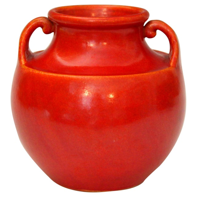 Awaji Pottery Art Deco Vase in Crystalline Chrome Red Glaze For Sale - Image 10 of 10
