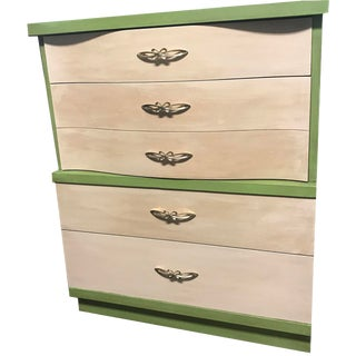 1960s Mid Century Modern 4 Drawer Highboy Dresser For Sale