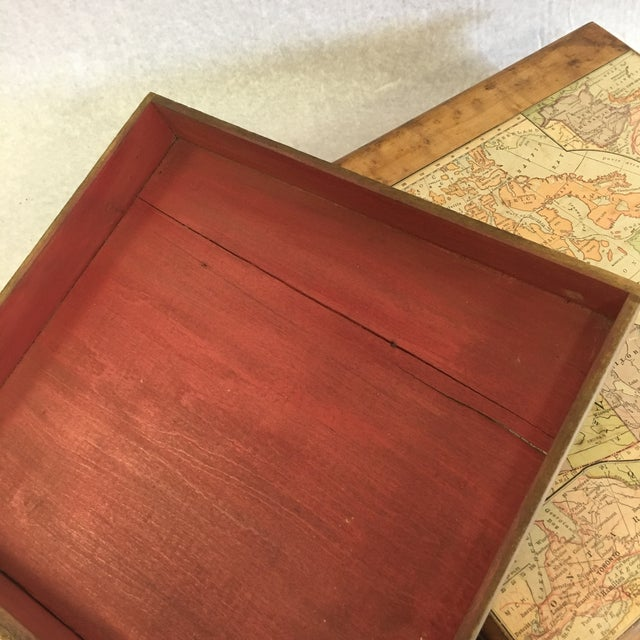 Vintage Wooden Drawer With Map For Sale In South Bend - Image 6 of 9
