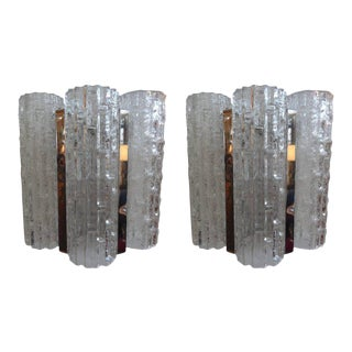 Vintage Venini Style Murano Glass and Chrome Sconces - a Pair For Sale
