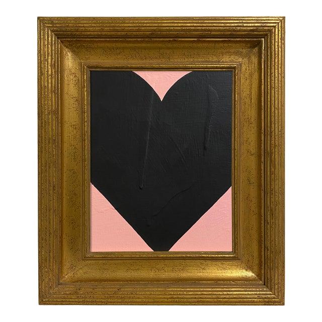 Ron Giusti Mini Heart Blush Black Painting, Framed For Sale