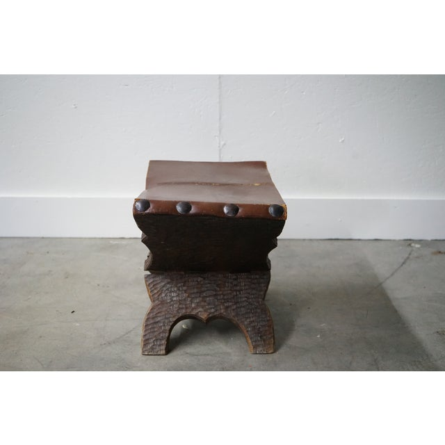 Vintage Carved Wood and Leather Ottoman For Sale - Image 4 of 6