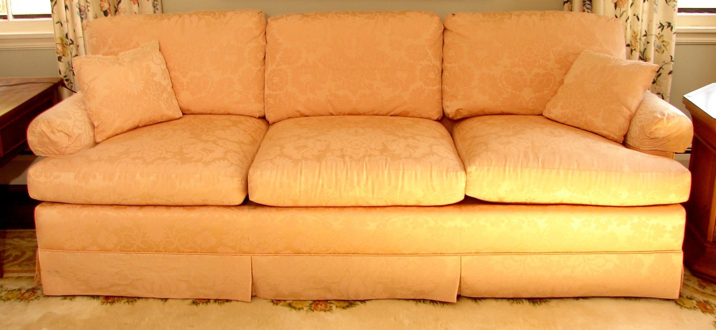 Vintage Baker Furniture Pink Damask 3 Seat Down Filled Sofa   Image 2 Of 6