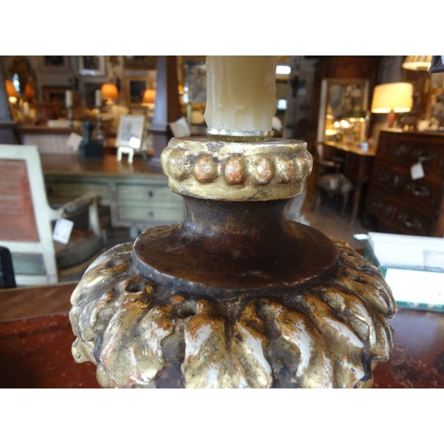 Giltwood Italian 19th Century Single Lamp For Sale - Image 7 of 11