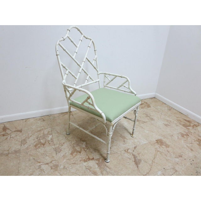 Vintage Metal Faux Bamboo Arm Chair For Sale - Image 10 of 10