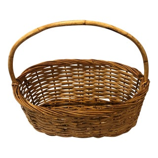 Vintage French Boho Chic Handwoven Burnt Bamboo Rattan Handled Market Basket For Sale