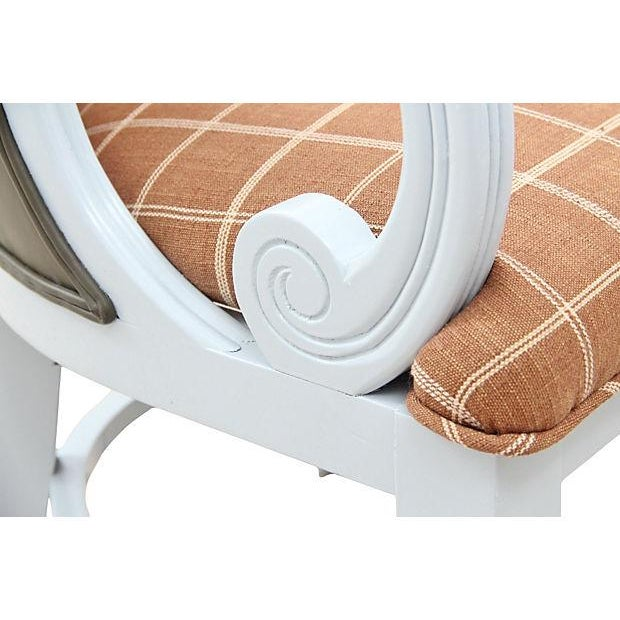 Plaid & Leather Empire Chair - Image 4 of 7