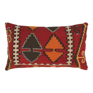 """Warm Red Kilim Lumbar Pillow 