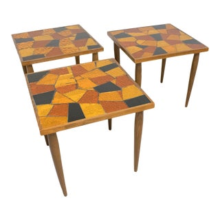 Mid-Century Modern Georges Briard Mosaic Glass Wood Table, a Trio For Sale