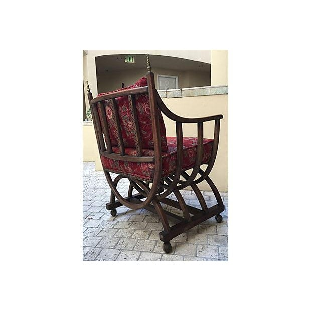 Red Floral Barrel Chair For Sale - Image 5 of 6