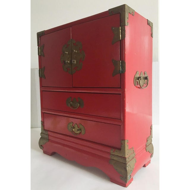 Vintage Red Lacquer Tansu Chest Jewelry Box - Image 3 of 11
