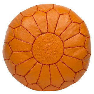 Embroidered Leather Pouf in Orange For Sale