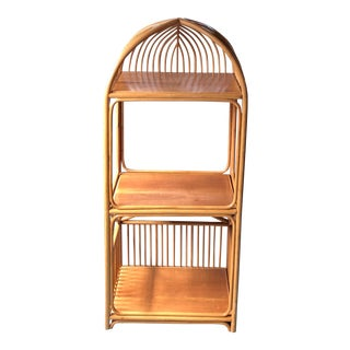 1970s Mid-Century Modern Bamboo Rattan Etagere For Sale