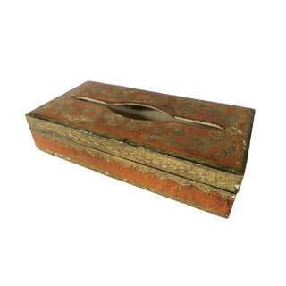 Antique Florentine Orange and Gold Gilt Wooden Tissue Box Cover Made in Italy For Sale