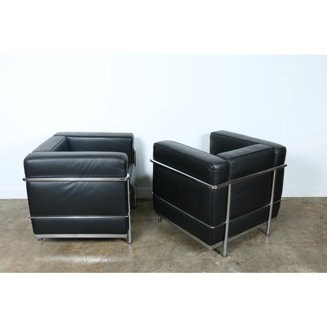 Animal Skin Le Corbusier Style Black Leather Club Chairs - A Pair For Sale - Image 7 of 11