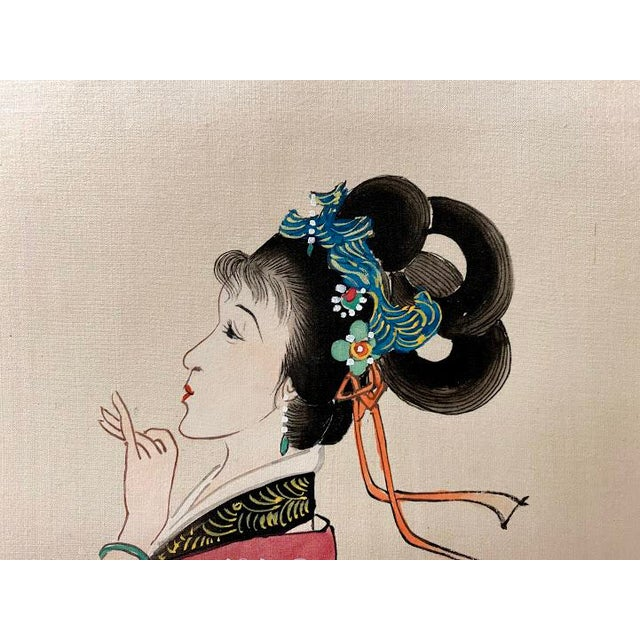 """Vintage """"Four Beauties"""" Chinese Silk Scroll Painting For Sale In San Diego - Image 6 of 12"""
