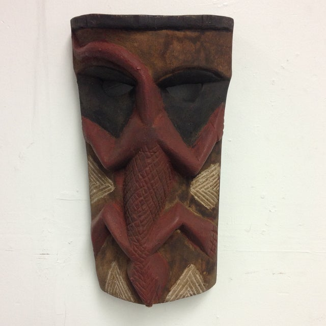 Hand Carved Wooden Mask With Lizard Design - Image 2 of 9