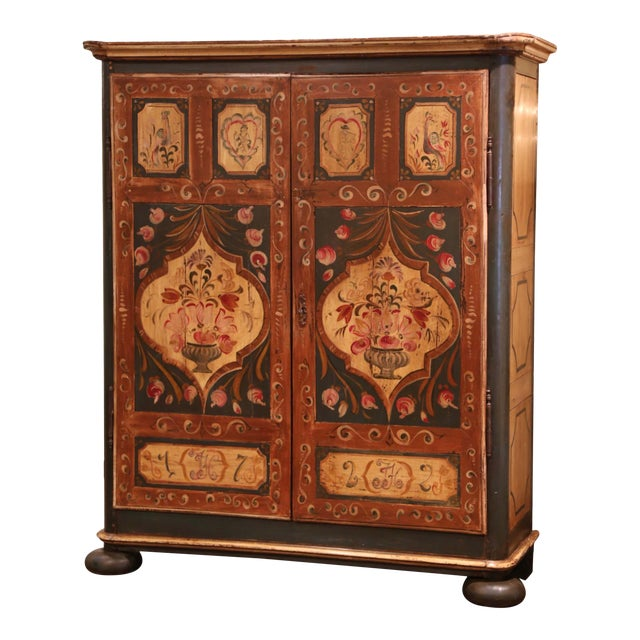 Early 19th Century French Pine Two-Door Painted Armoire From Alsace-Lorraine For Sale