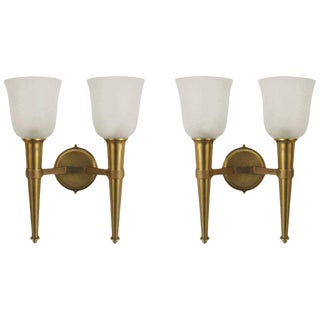 French 1940s Brass Torch Design Wall Sconces - a Pair For Sale